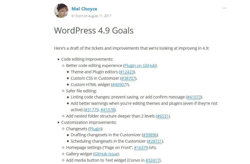 WordPress 4.9 goals