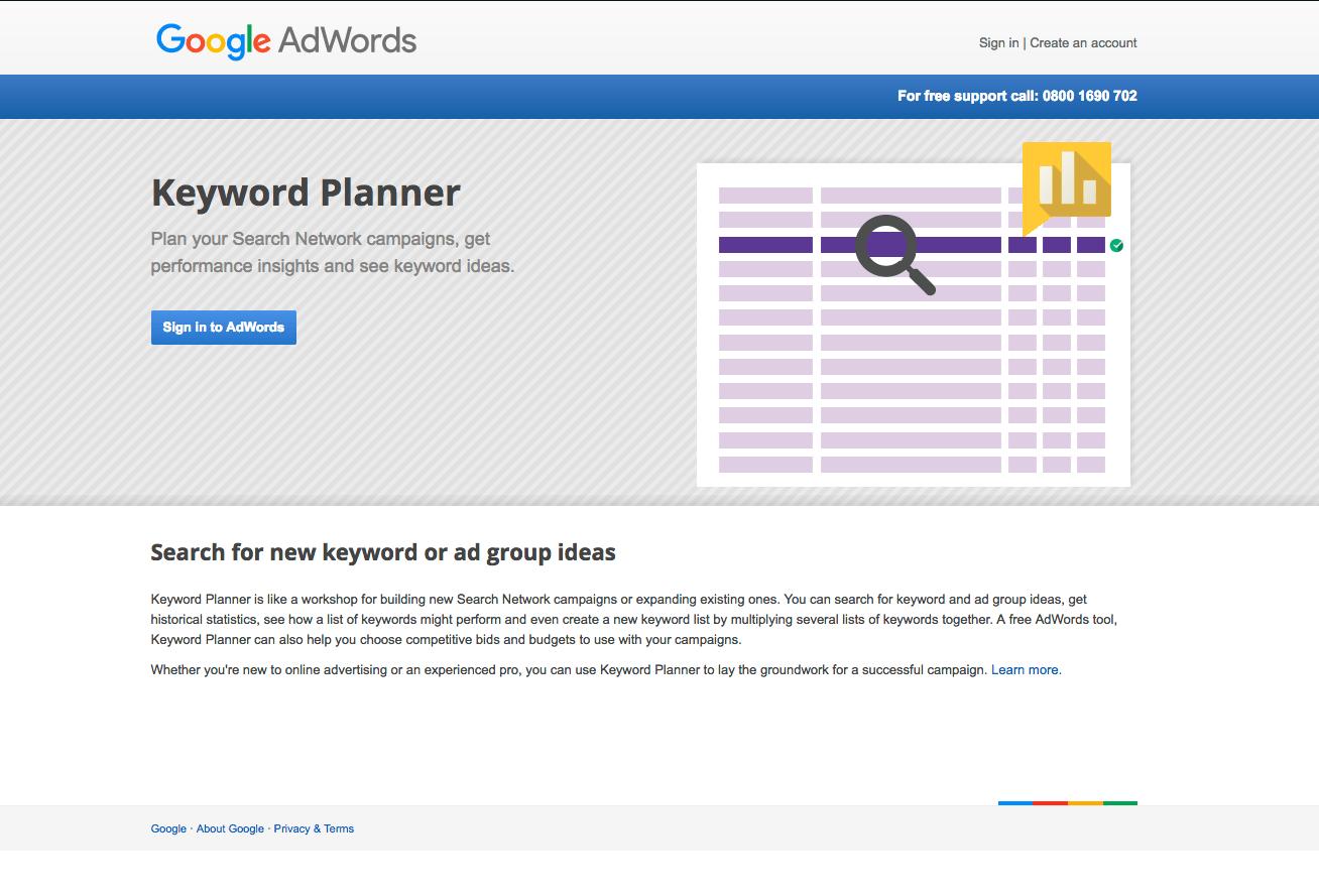 Screenshot of the Google Keyword Planner