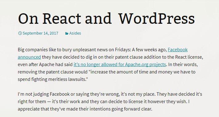 September 2017 WordPress News: React not in Gutenberg