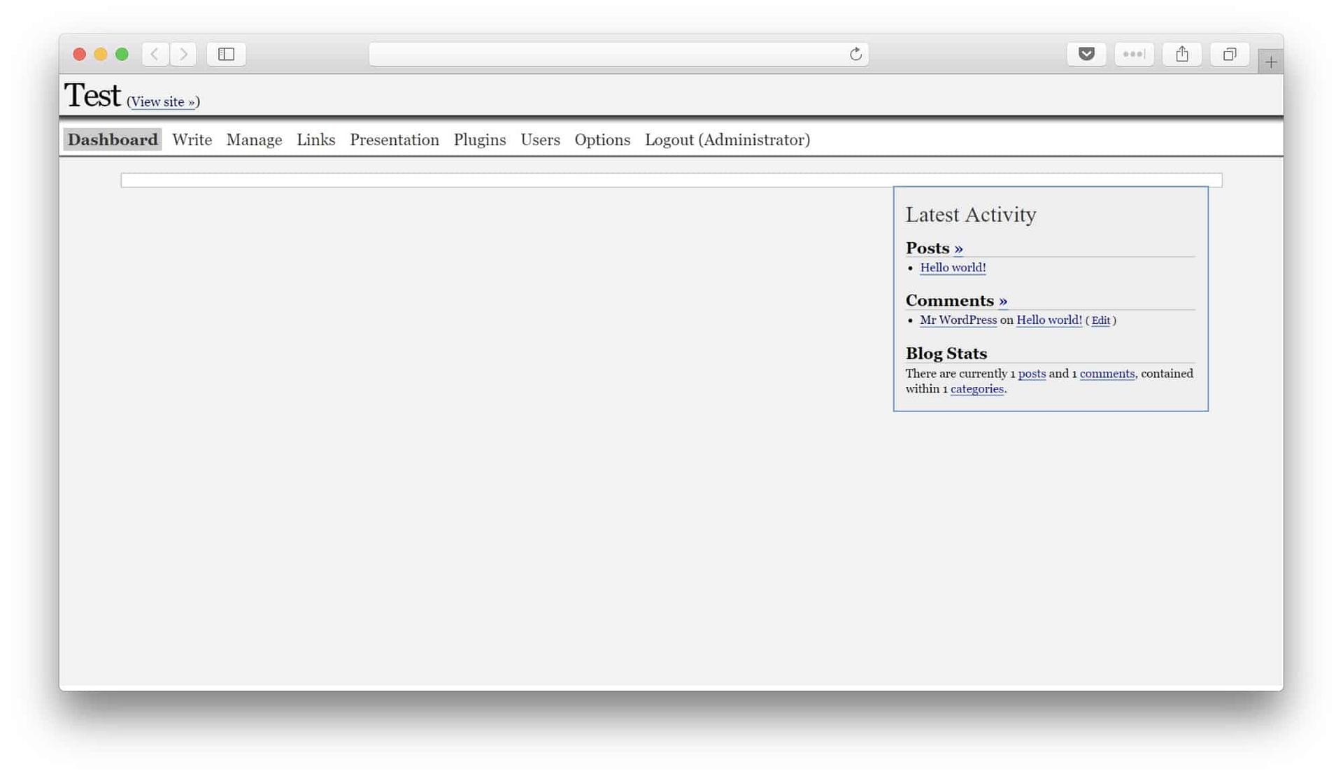 WordPress 1.5 dash