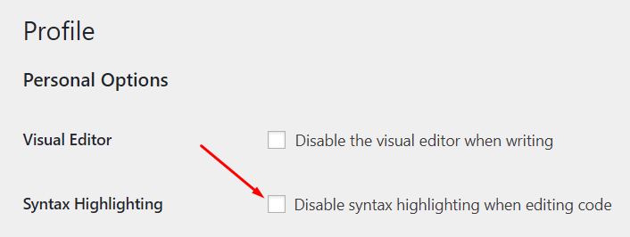 Turn off Syntax Highlighting in the Profile settings