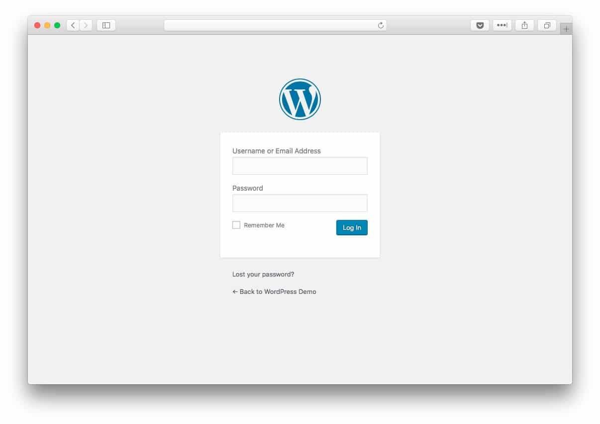 WordPress 4.9 login