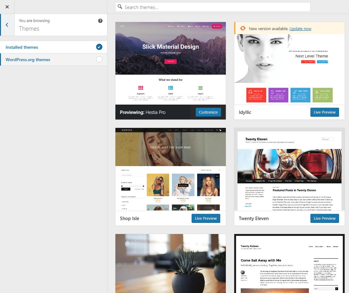 Improved installation from WordPress 4.9 Customizer