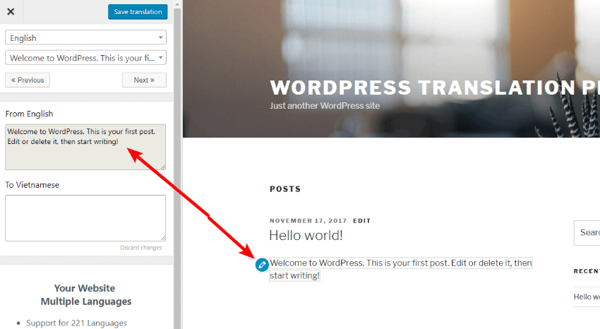 translate press interface