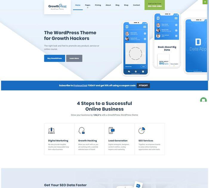 SEO friendly WordPress themes: GrowthPress
