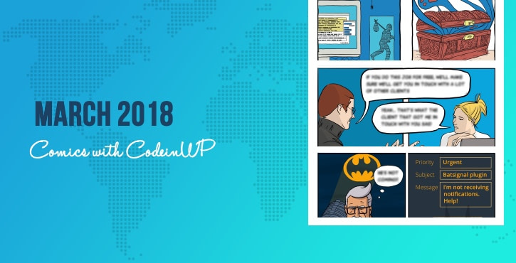 March 2018 Comics on WordPress, Web Design, Batman