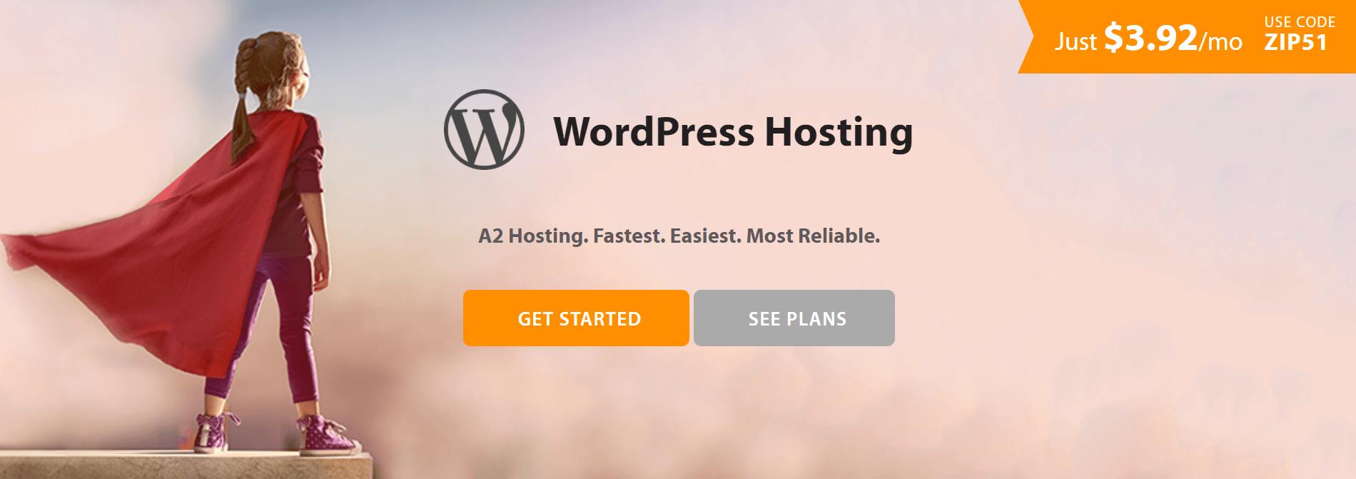 A2 Hosting WordPress hosting.