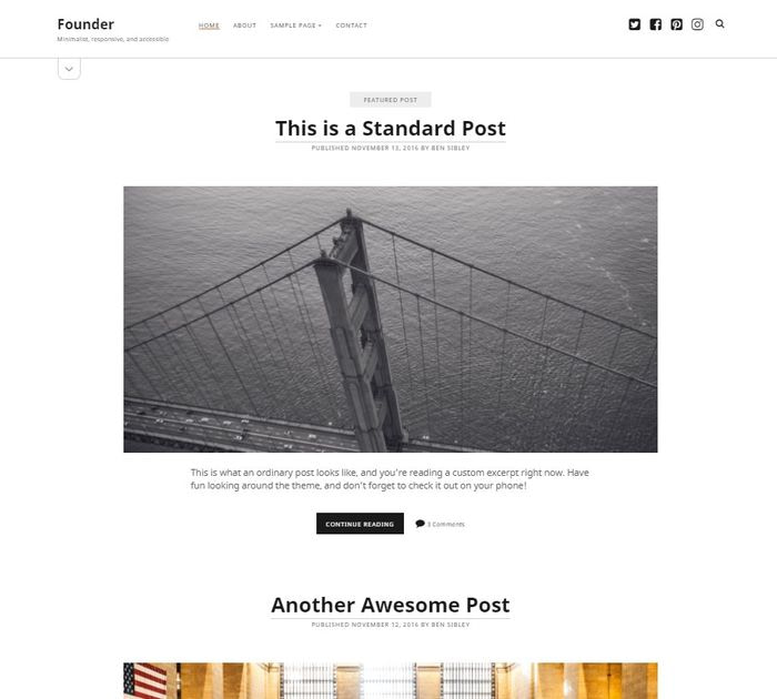 Best free WordPress themes for writers: Founder