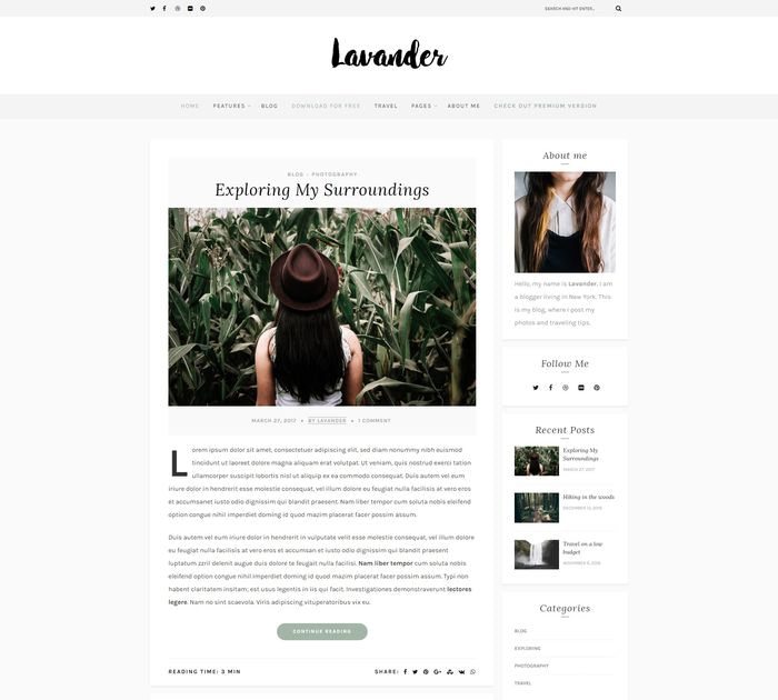Best free WordPress themes for writers: Lavander