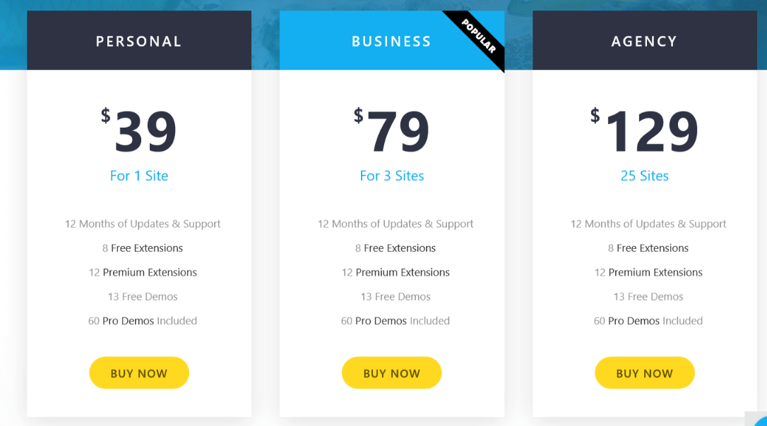Pricing options for the OceanWP theme.