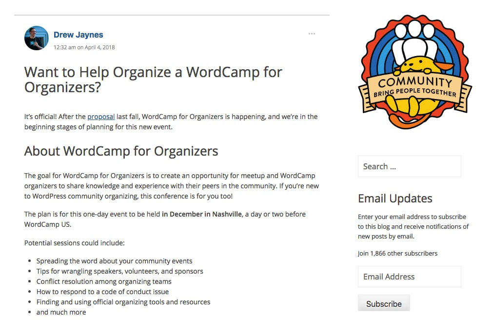 WordCamp for organizers