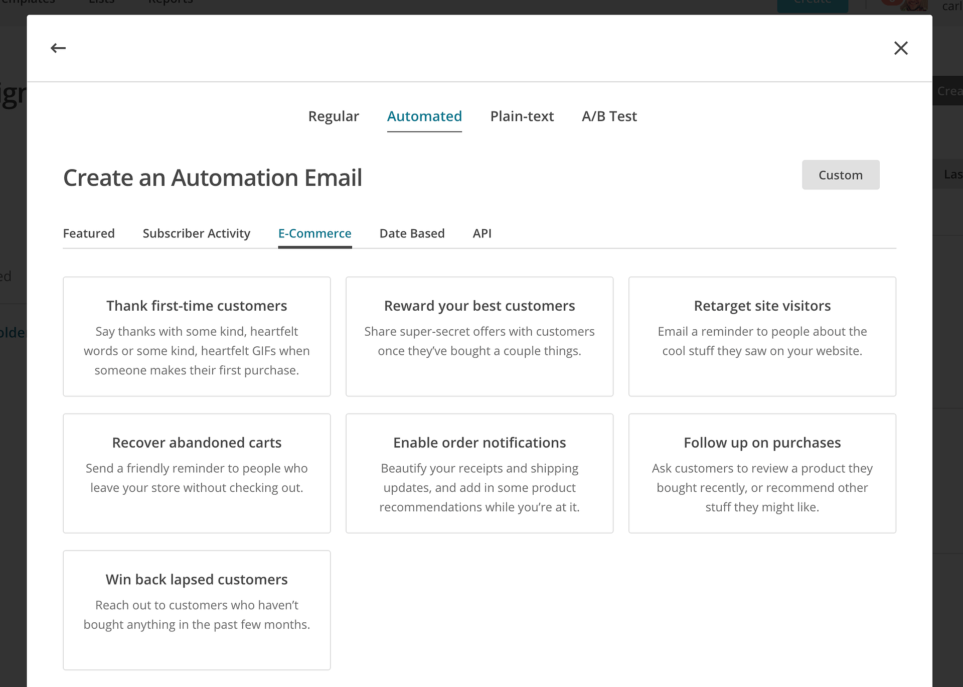 mailchimp premade automations