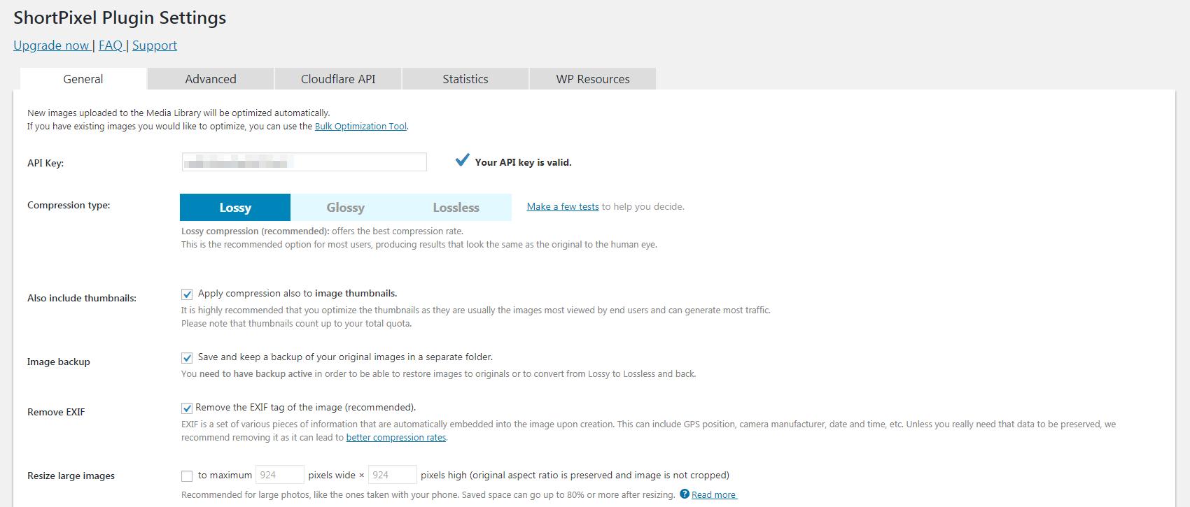 The ShortPixel plugin settings.