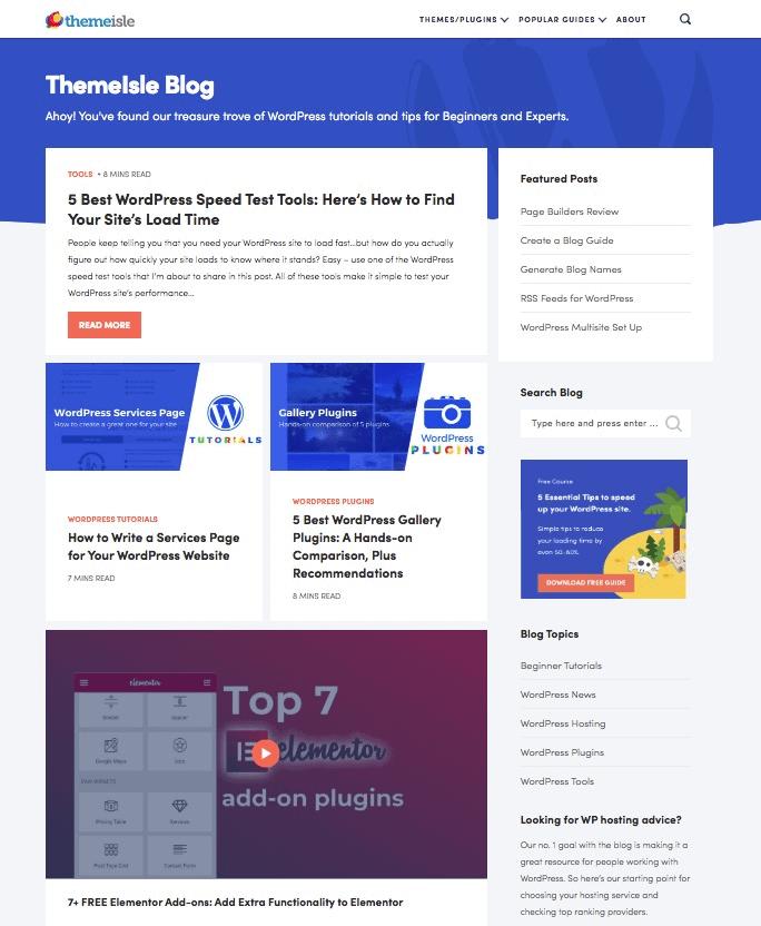 Themeisle blog design