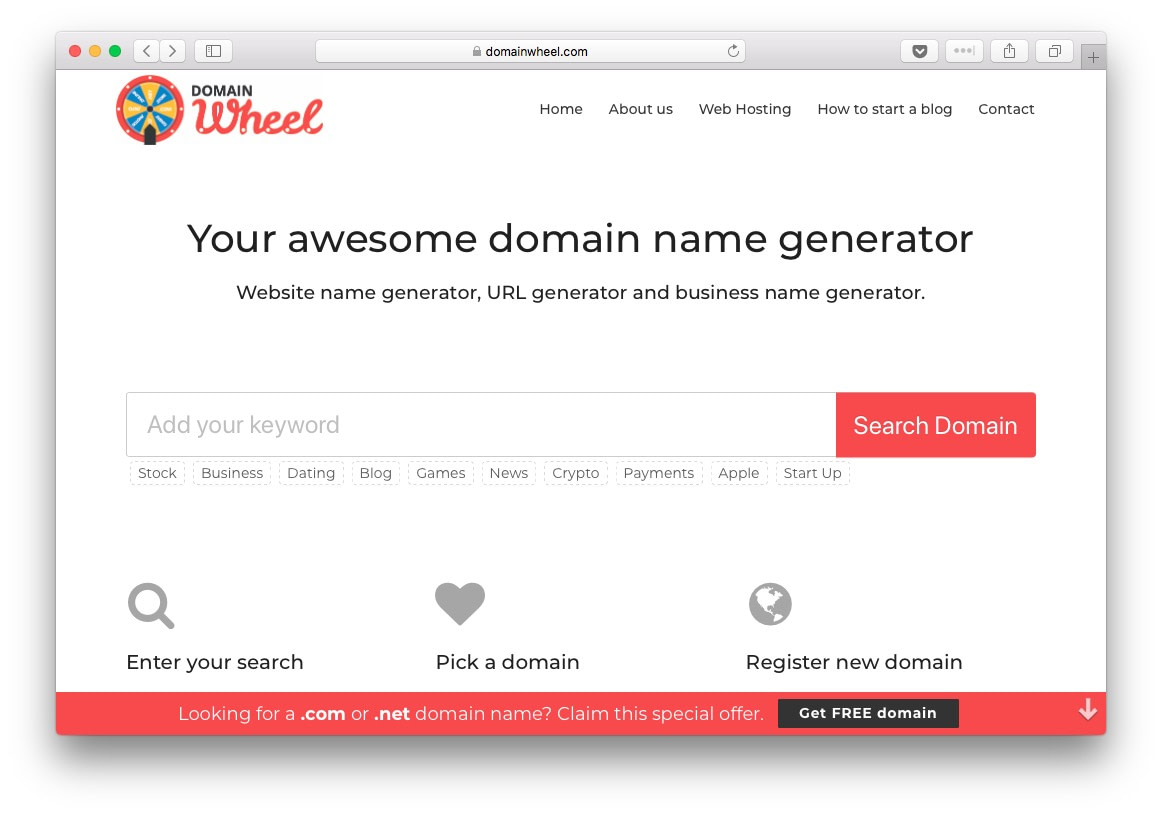 The front page for Domain Wheel