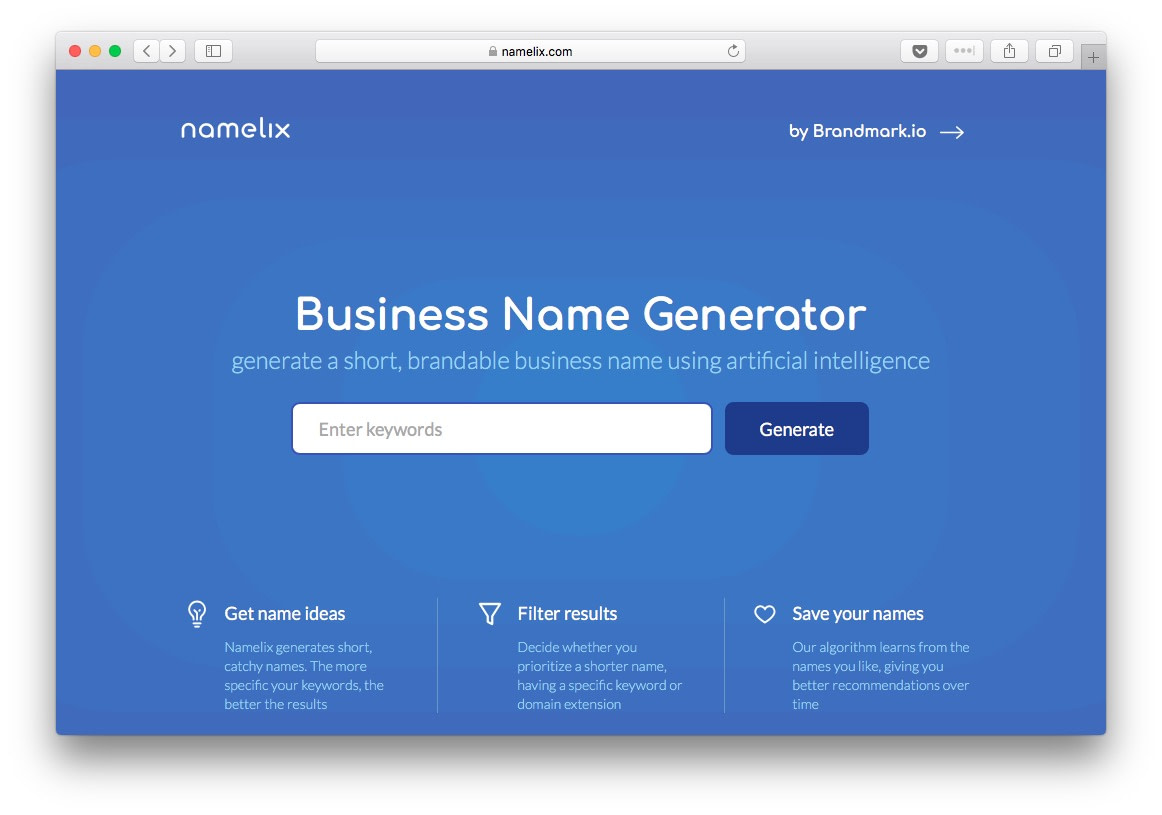 Namelix is an AI powered business name generation tool
