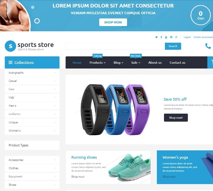 Best Free Shopify Themes: Sports Store