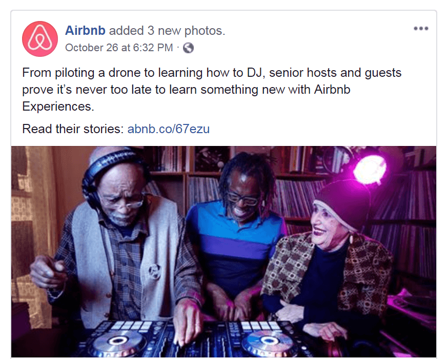 A Facebook post from Airbnb