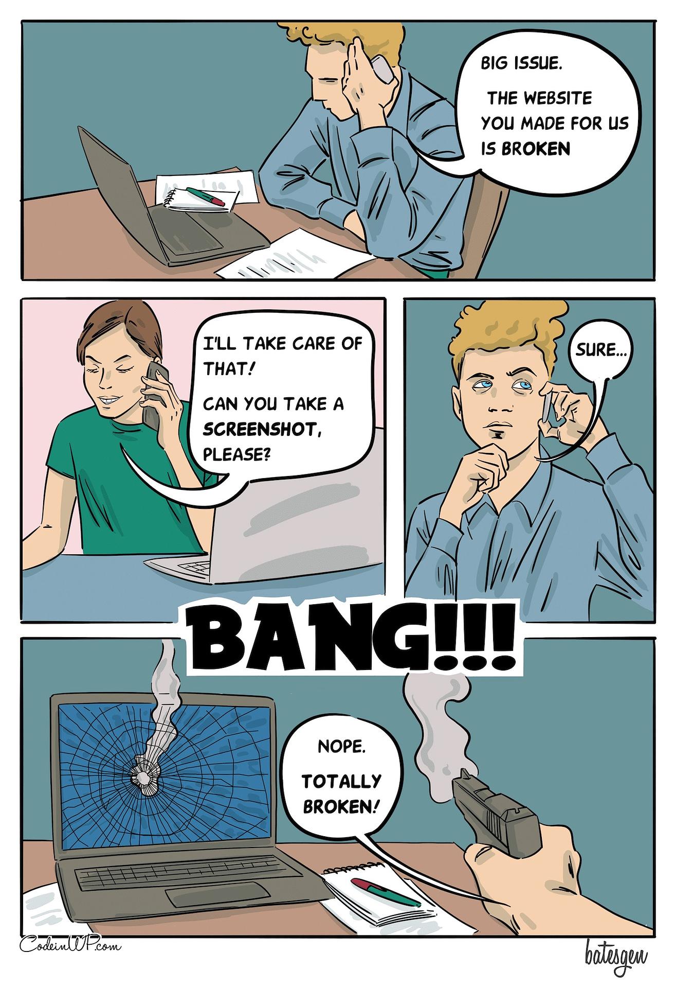 A tech comic about the screenshots and large guns