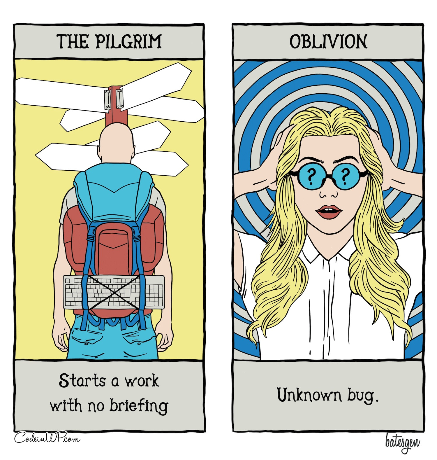 A tarot comic about bugs and people who work without briefings