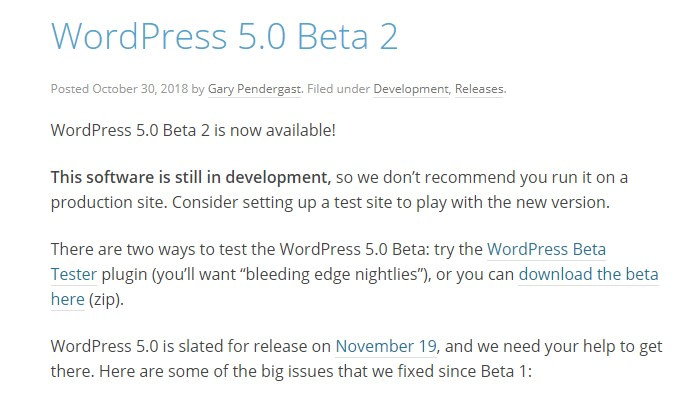 wordpress 5.0 beta 2