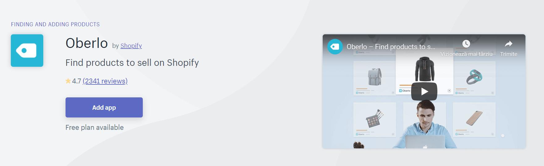 The Oberlo app.