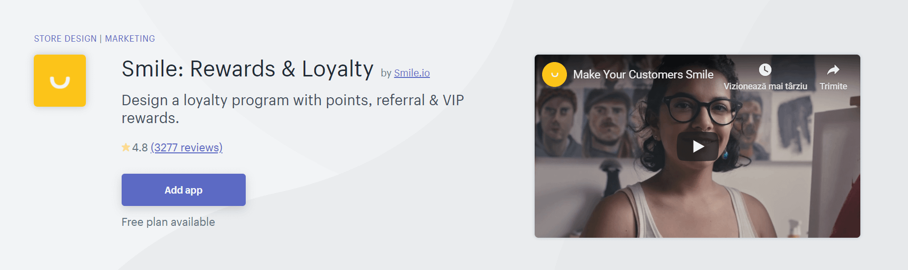The Smile: Rewards & Loyalty app.