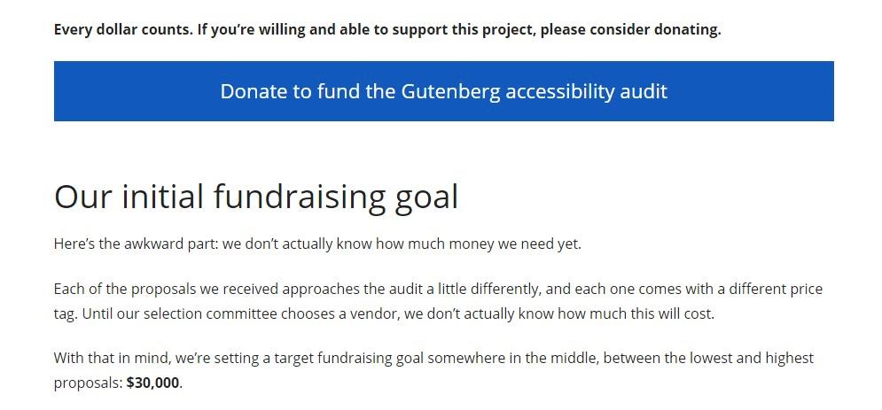 gutenberg accessibility audit fundraising - january 2019 wordpress news