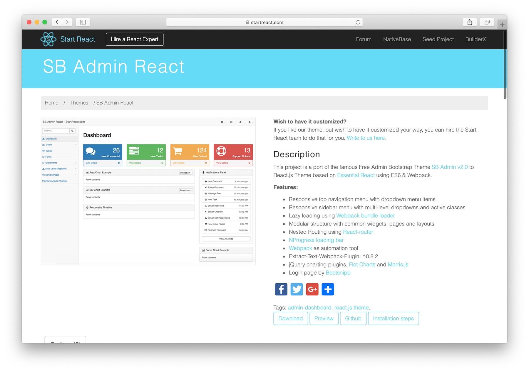 SB Admin React