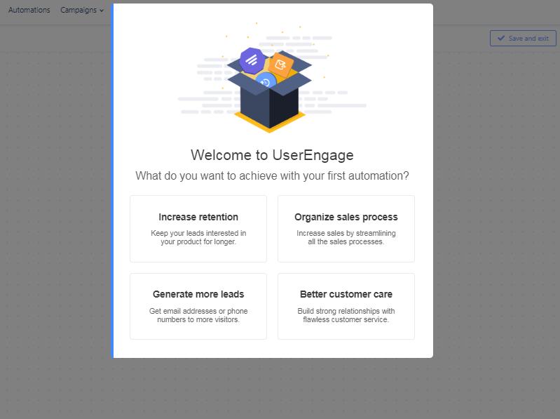 Creating a new User.com account.