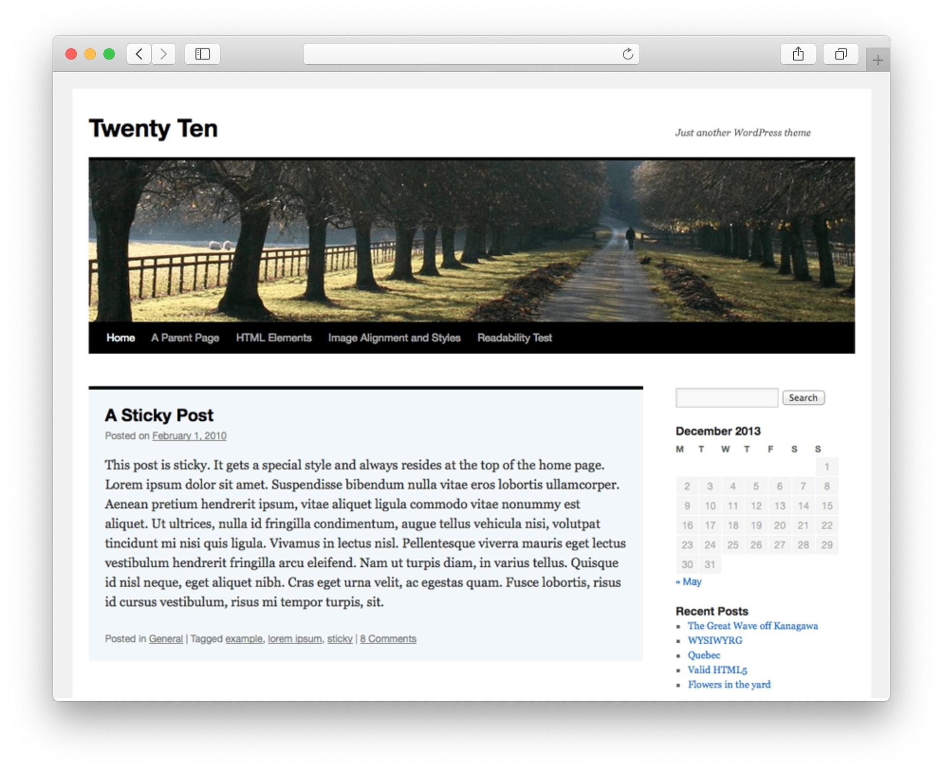 WordPress Theme Design Twenty Ten