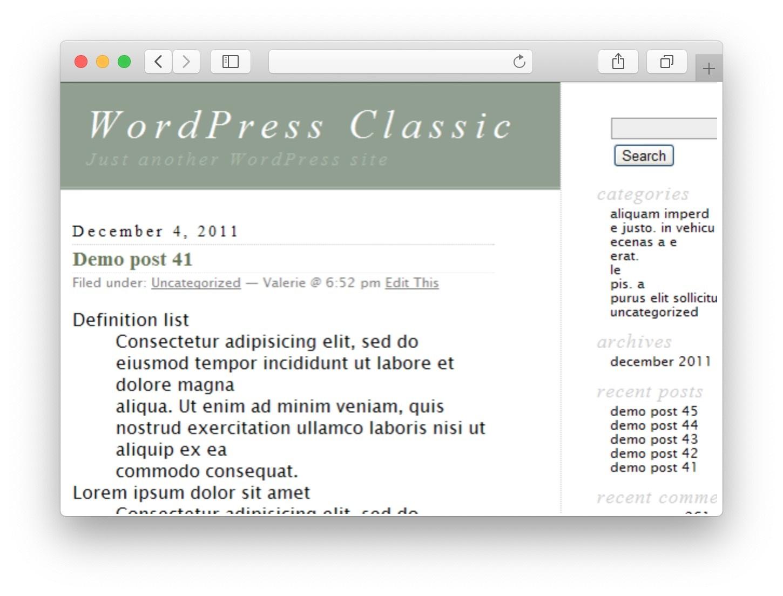 WordPress Theme Classic