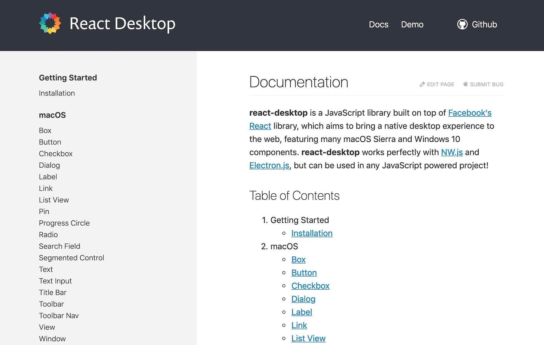 React UI component libraries: react-desktop