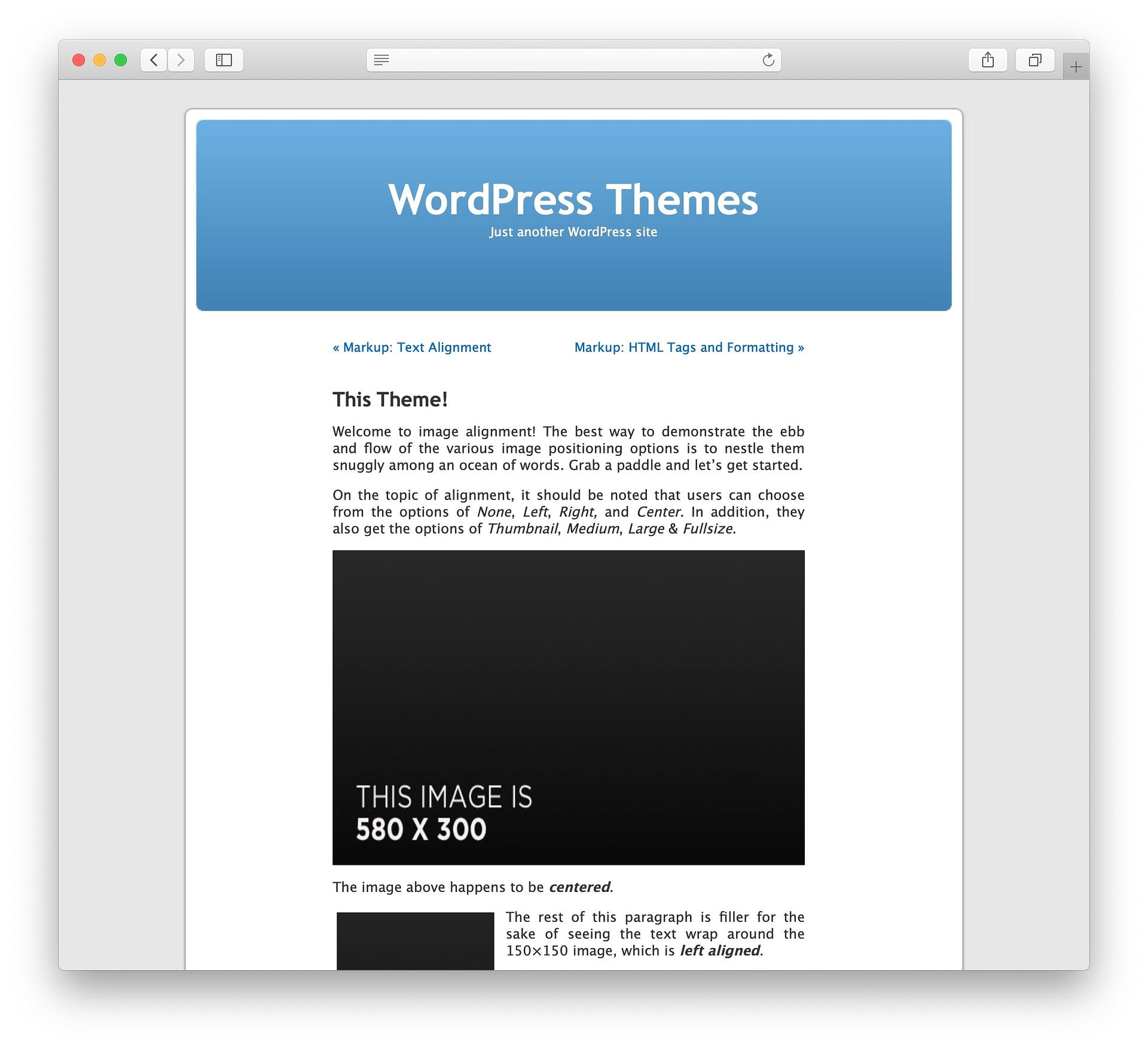 the default WordPress theme