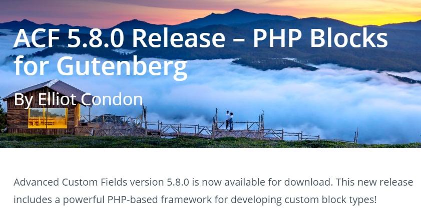 advanced custom fields php blocks for gutenberg