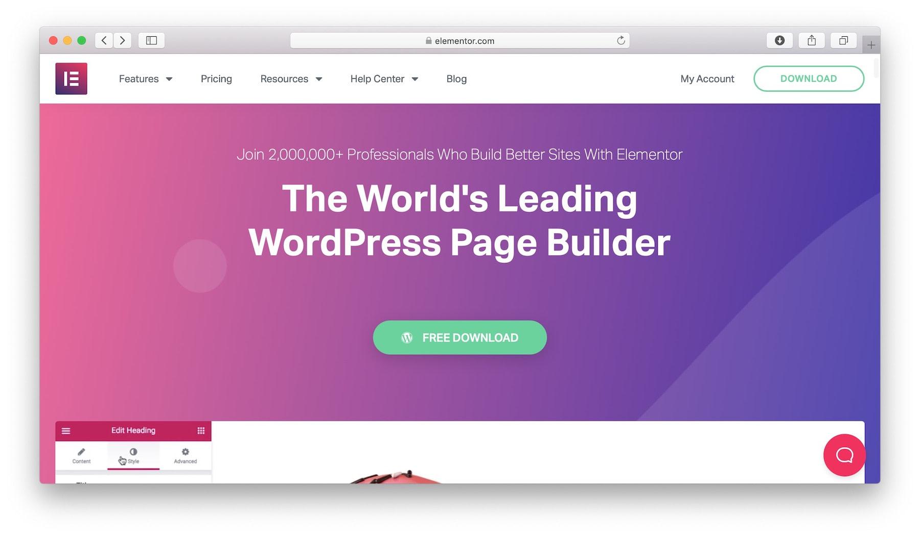 Elementor - the best mobile website builder for DIY