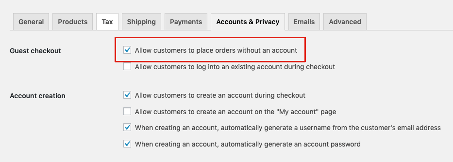 WooCommerce guest checkout