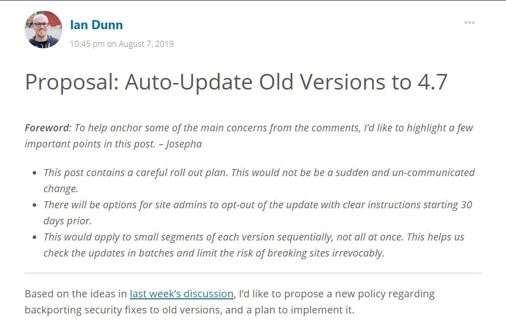 september 2019 wordpress news old version auto-updates debate