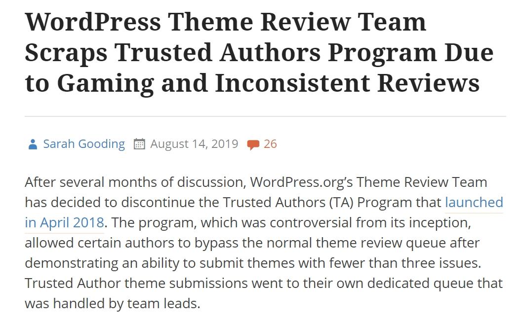 september 2019 wordpress theme trusted authors program cancelled