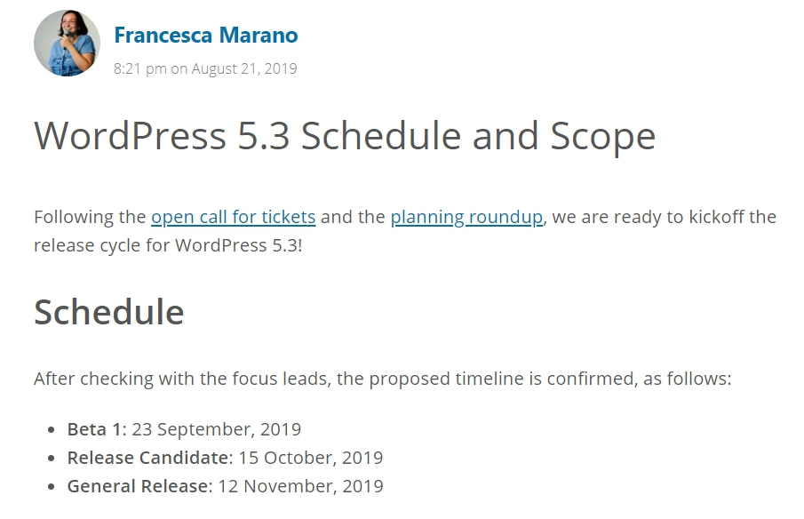 wordpress 5.3 schedule and team
