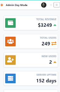 Tailwind Toolbox Admin Template Day on mobile