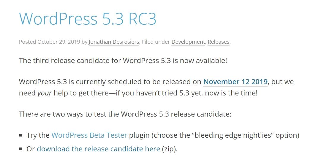 November 2019 WordPress News - WordPress 5.3 release candidate out