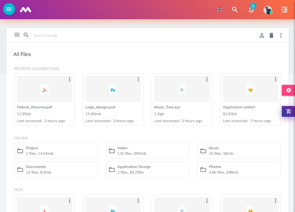 Materialize Admin Template view