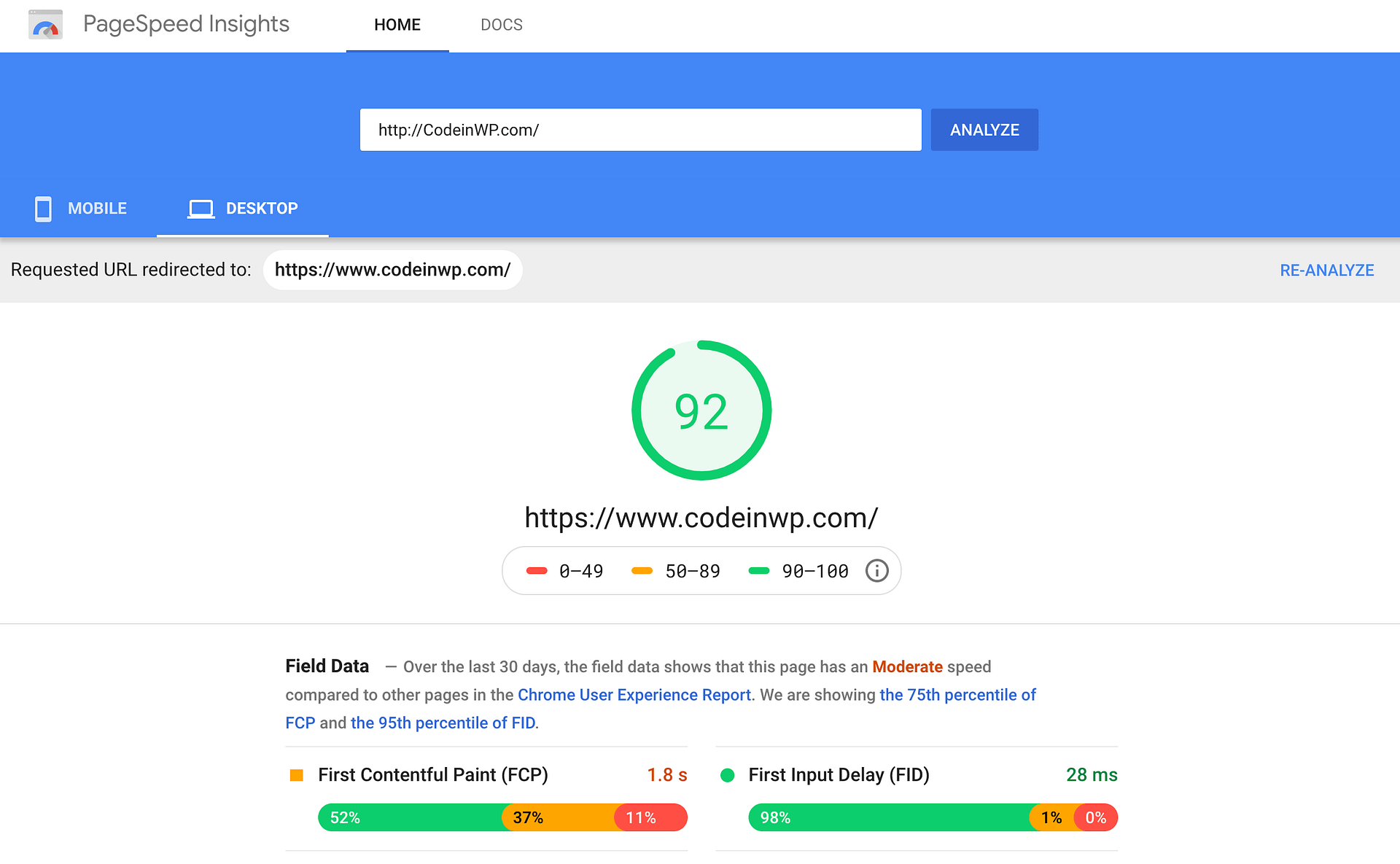 pagespeed insights test