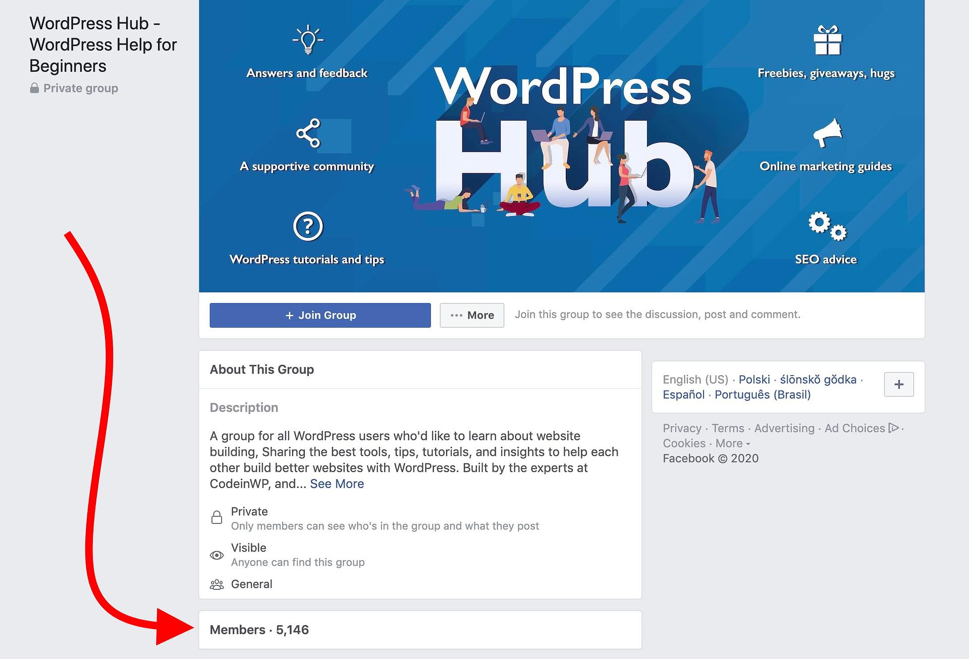 Facebook WordPress group