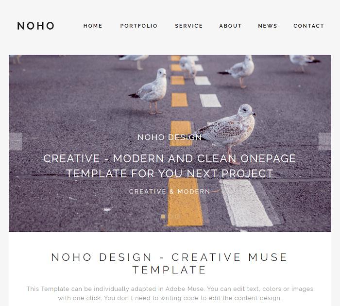 Best Adobe Muse Templates: NOHO