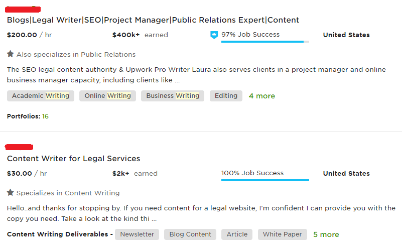Upwork legal writer search result when looking for freelance writing jobs