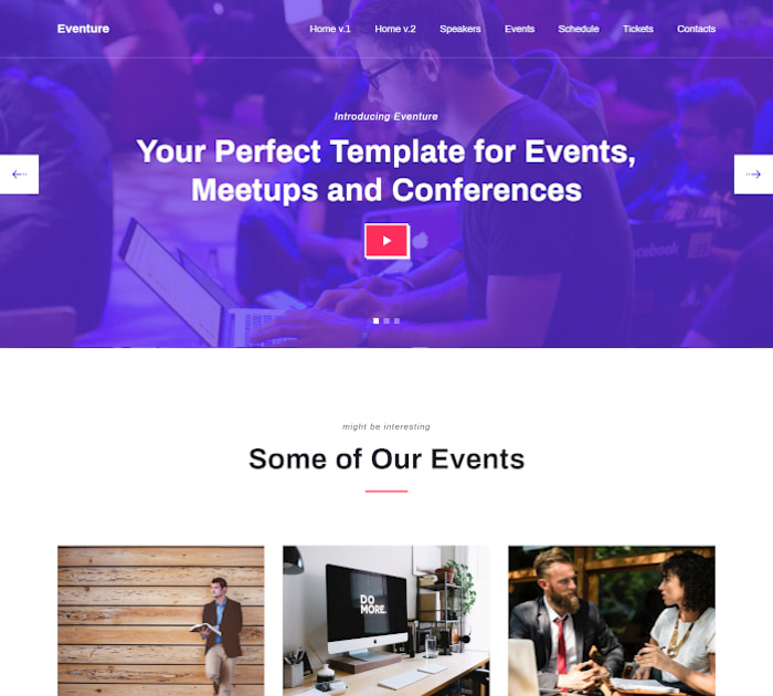 Best Webflow templates and themes: Eventure - Event website template