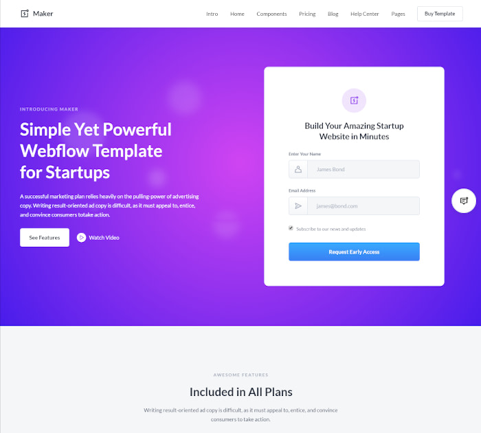 Best Webflow templates and themes: Maker - UI Kit Webflow template
