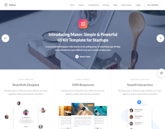 Maker - UI Kit Webflow template view